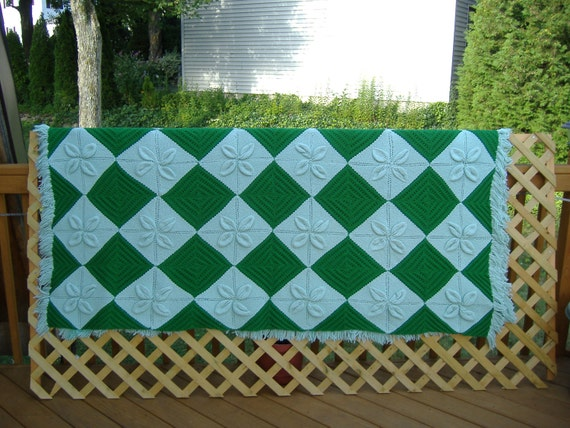ON SALE Knitted, Fringed Bedspreads or Afghans in Shades of Green