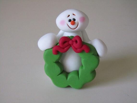 Whimsical Christmas Snowman with Wreath