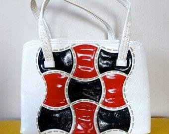 60's Mod Purse Red White and Navy Colorblock Vinyl Handbag