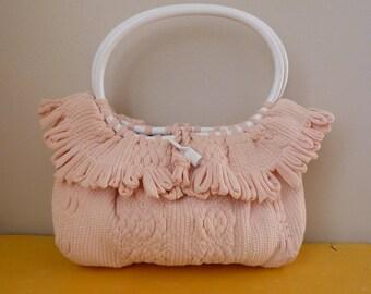 50's Pastel Purse Pink Woven Round Handle Handbag
