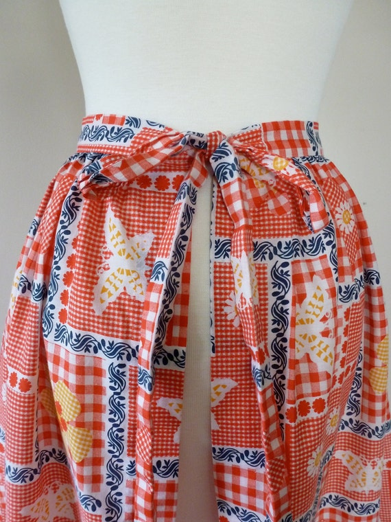 70's Maxi Apron Country Gingham Little House on the Prairie