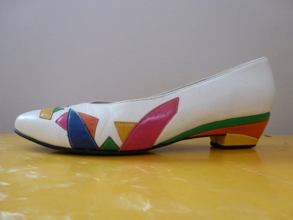 80's Neon Heels Color Block Abstract Graphic White Shoes 8