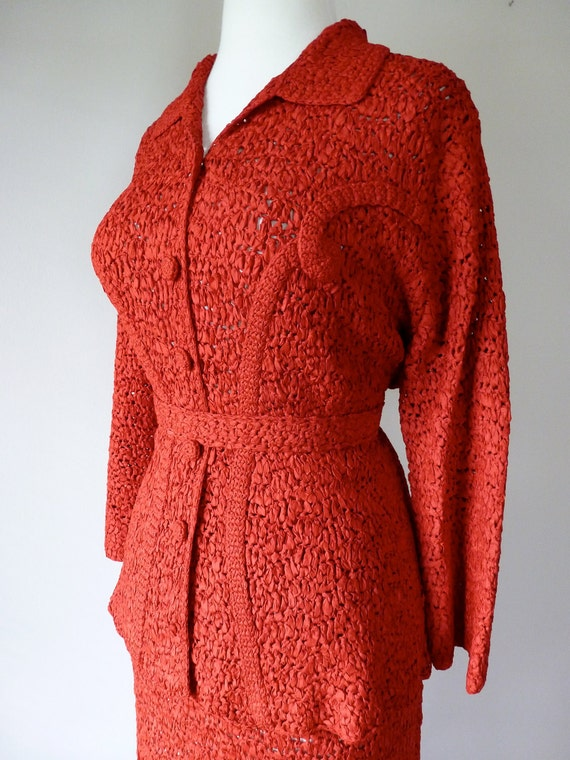 40's Red Ribbon Weave Crochet Suit Set Jacket Skirt and Belt L XL
