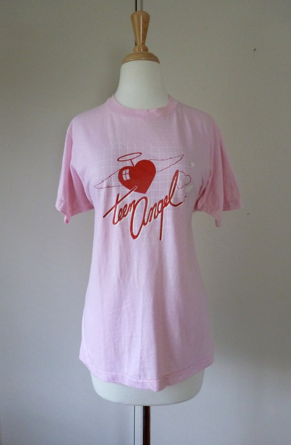 80's Teen Angel Tshirt Pink with Red Hearts L
