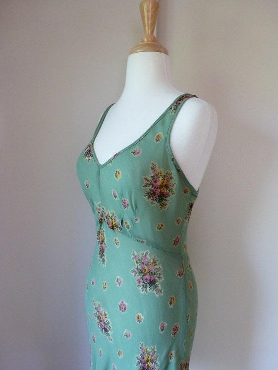 90's BETSEY JOHNSON Mini Dress Grunge Floral Sheer Bias Cut S P