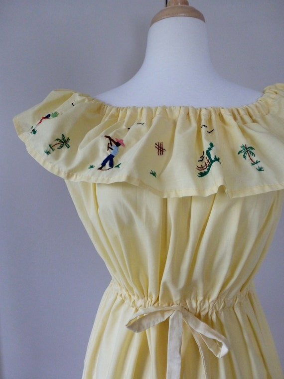 70's Souvenir Dress Tropical Embroidered Yellow Ruffle M L XL