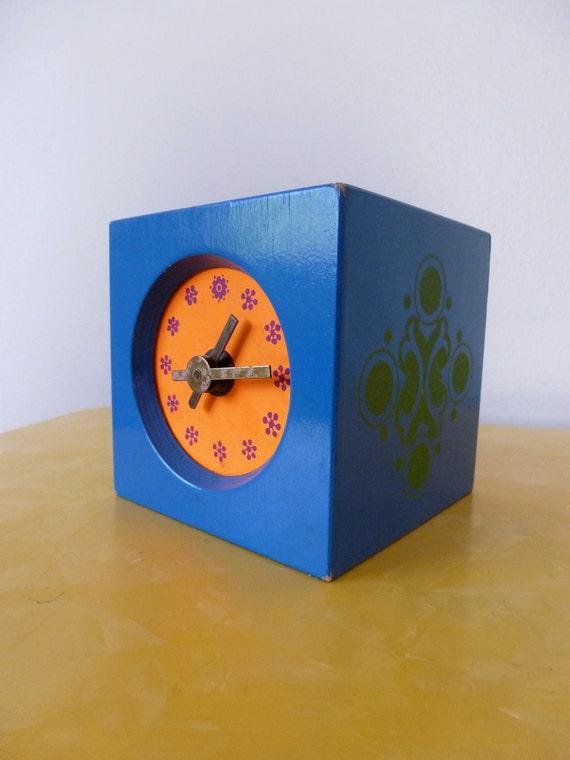 60's Block Clock Mod Blue Orange Green Wind Up