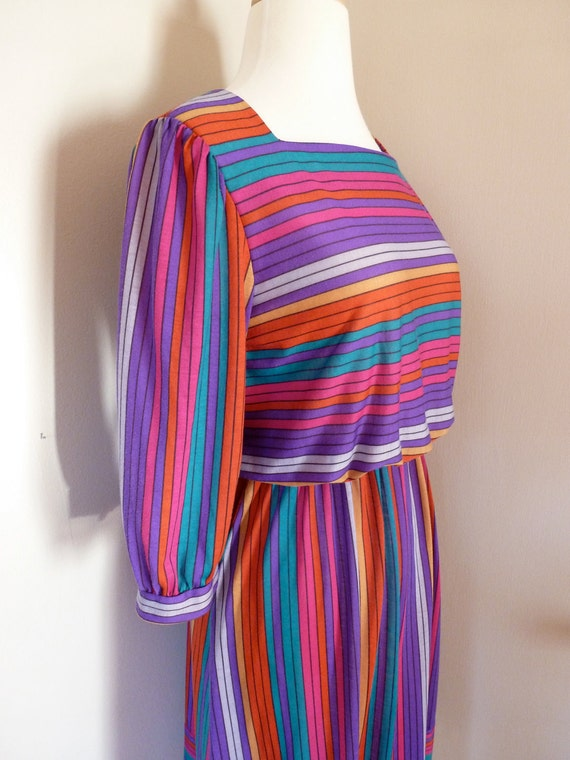 80's Secretary Dress Candy Stripe Rainbow M