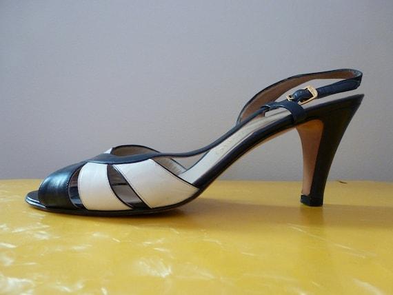 70's FERRAGAMO Navy White Strappy Sandal Heels 9.5