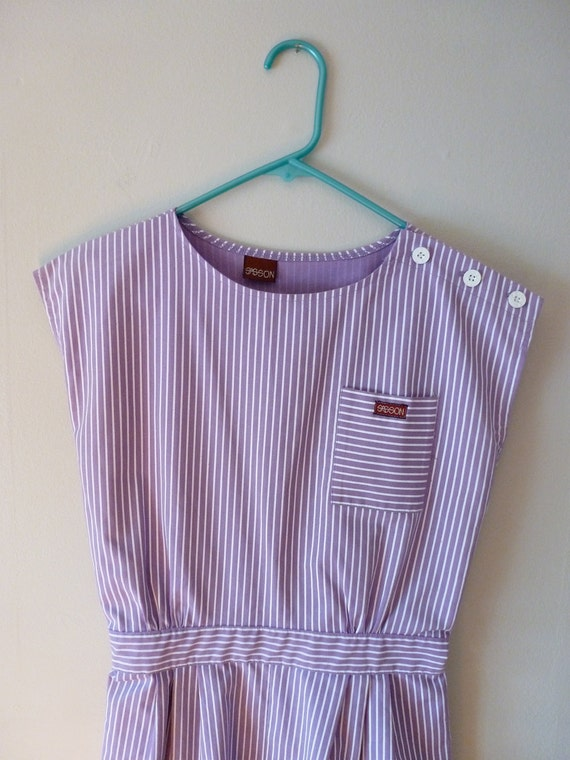 80's Sasson Romper Purple and White Striped Playsuit XS S