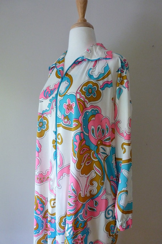 70's Eduardo Caftan Signature Print Psychedelic Lounger Nightgown Robe L
