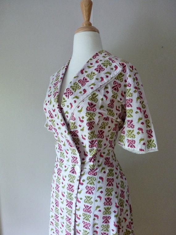 50's Dressing Gown Bird Novelty Print Full Length Cotton Robe House Dress L