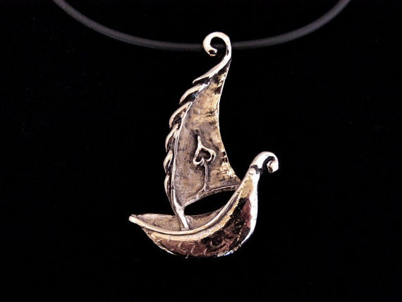 Bronze Boat Sailing Ship Pendant Necklace- 'Life's Journey'
