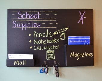 24x36 Chalkboard Mail holder Key hooks Magazine slot Home Organizer