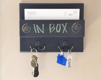 In box Chalkboard wall mount small mini one pocket slot holder with key hooks