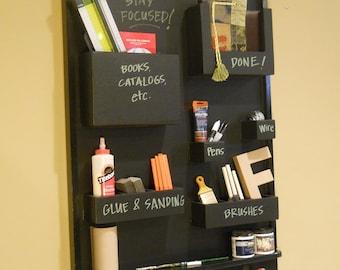 Craft supply organizer Chalkboard Homework station