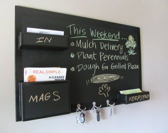 Mail Organizer Chalkboard wall mount medium size high gloss border key hooks