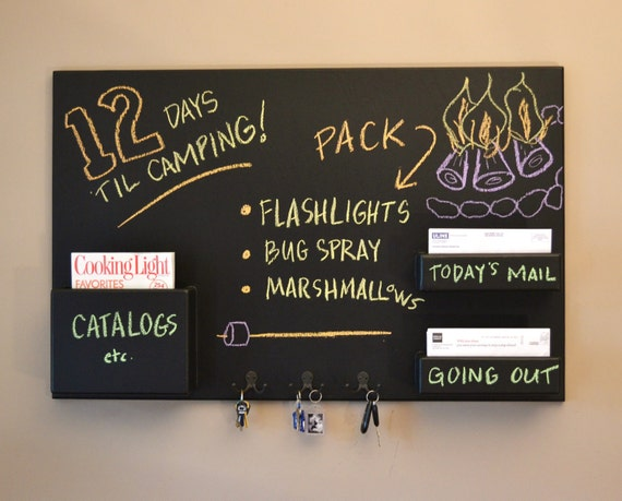 Mail Organizer chalkboard medium wall mounted pockets and hooks