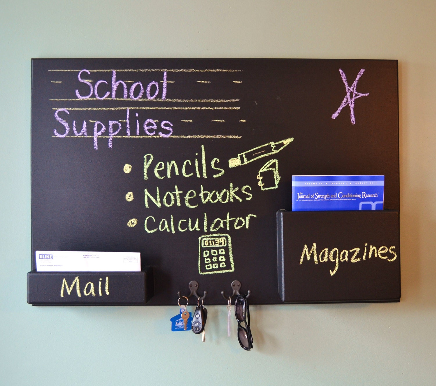 Mail Organizer Blackboard Small Wall Mounted By