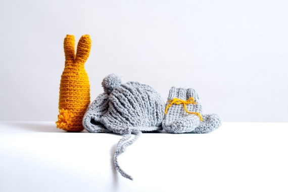 grey and orange new born baby set hat and socks and bunny hand made knitted with love