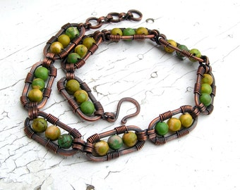 Maple Turquoise Copper Wire Wrapped Bracelet