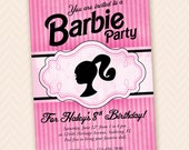 Girls Doll Head Silhouette Birthday Party Invitation - Black & Pink Stripes