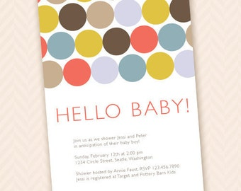 Hello Baby - Modern Baby Shower Invitation Design