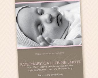 Custom Printable Birth Announcement for Baby Boy or Girl