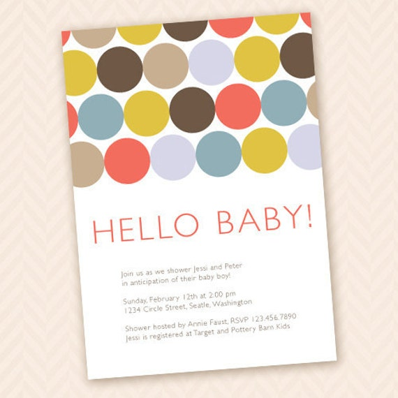 Hello baby modern baby shower invitation design for Baby shower modern decoration