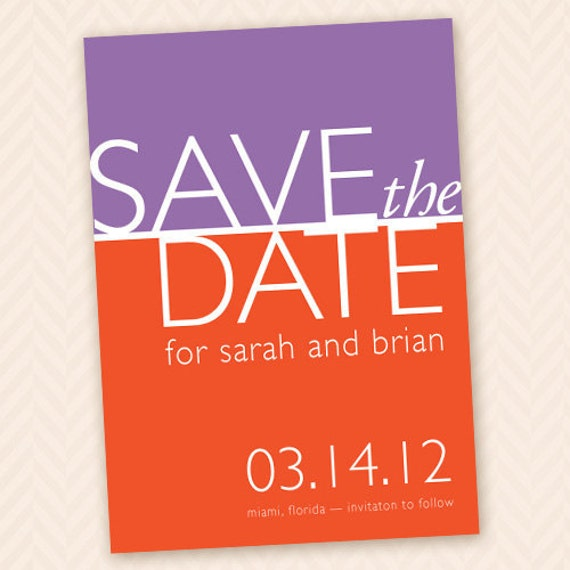 Printable Color Block Save The Date - Custom Colors Available
