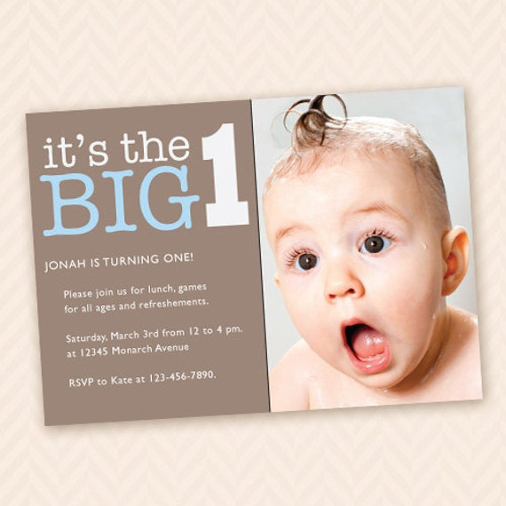 1 Year Baby Birthday Invitation Quotes: Custom First Birthday Party Invitation For Boy Or Girl