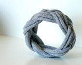 Fabric Bracelet Cuff in Grey by LimeGreenLemon