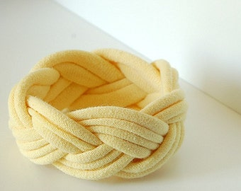 Fabric Bracelet Cuff in Soft Light Yellow by LimeGreenLemon