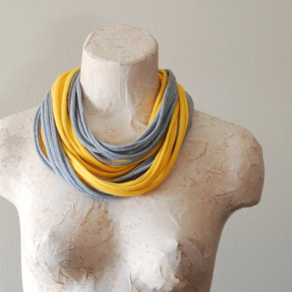 Infinity scarf - Skinny cotton jersey loop scarf necklace - Upcycled tshirt - YELLOW & GREY