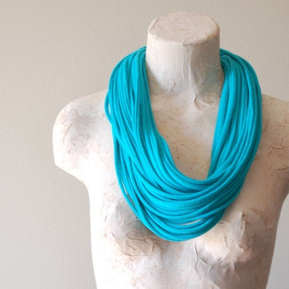 Infinity scarf - upcycled tshirt necklace - by LimeGreenLemon