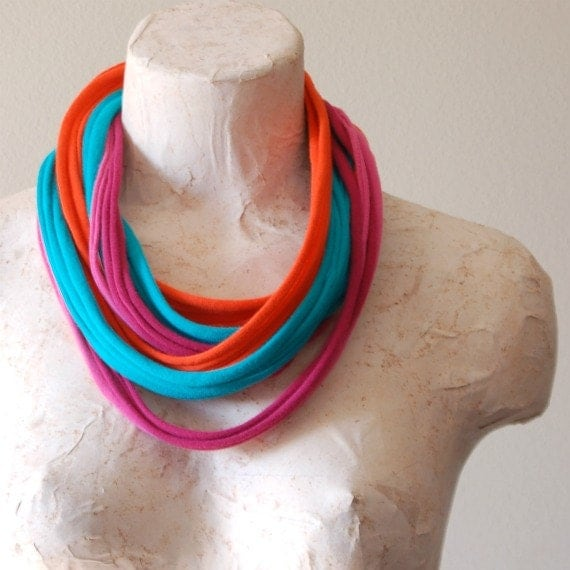 Infinity scarf tshirt scarf necklace upcycled cotton jersey t shirt MULTI COLOR orange aqua pink fuschia
