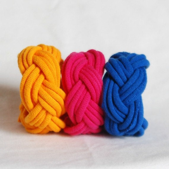 Fabric Bracelets Cuffs in Marigold Magenta Blue - by LimeGreenLemon