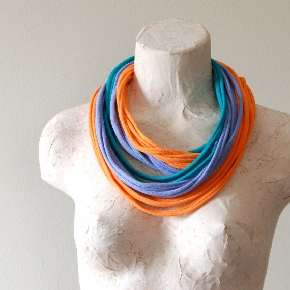 Infinity Scarf - Upcycled Cotton Jersey Tshirt Necklace - EcoFriendly Statement Wear -By LimeGreenLemon