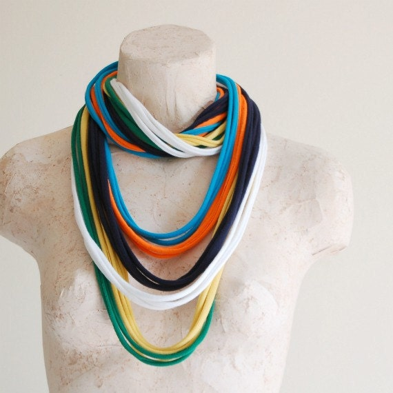 Infinity Scarf Fabric Necklace - Statement Wear Cotton Jersey Tshirt Necklace - by LimeGreenLemon