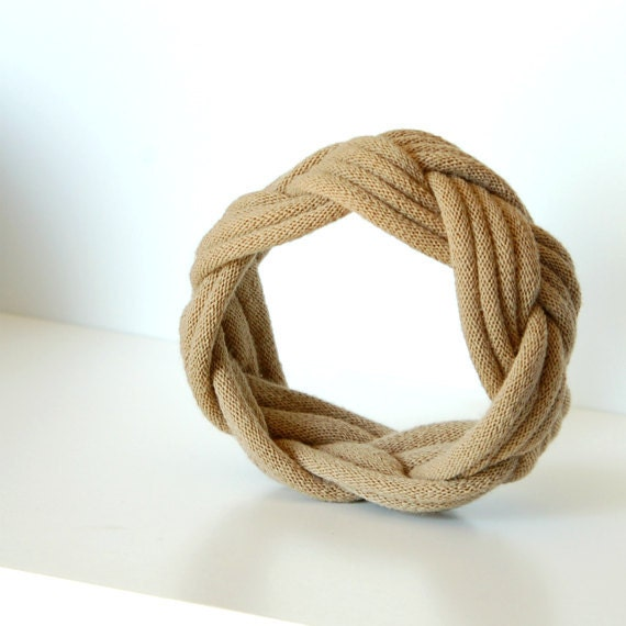Fabric Bracelet Cuff in Tan by LimeGreenLemon