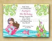 Beautiful Mermaid Girl Birthday Invitations