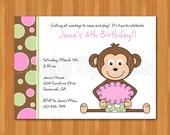 Cupcake Monkey Pink Birthday Invitations