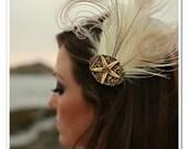 LADY STARFISH Beach Wedding Ocean Bridal Feather Fascinator Photo Prop