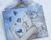 TRANQUILITY Nautical Fantasy Ocean Angel Mermaid Art Wall Tile Plaque