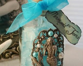 Mermaid Tears Hand Crafted Mermaid Collectible Altered Art Bottle Decor Photo Prop