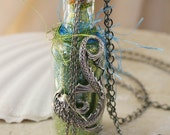 MYSTIC FISH Glass Bottle Vial Necklace Altered Mixed Media Jewelry