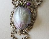 MOON GARDEN Fantasy Mermaid Ocean Crescent Moon Seashell Necklace in aged brass