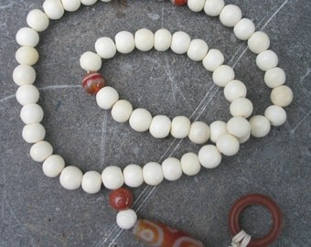Buddhist prayer mala 54 beads bone & agate with lovely dzi bead