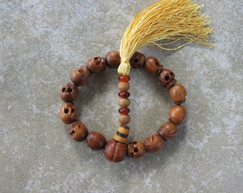 Carved wood skull beads - hand mala or bracelet