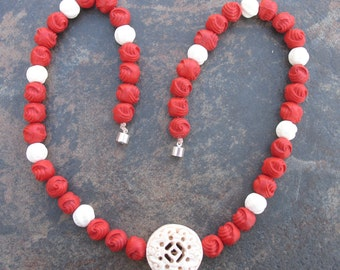 Mala-inspired cinnabar & bone necklace